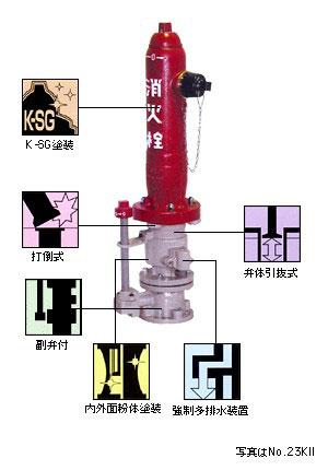 地上式単口消火栓 No.23KII (No.22KII) 短管なし・乙管なし仕様